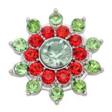 Посеребренная кнопка с цветочным дизайном 20 мм и зеленый красный горный хрусталь