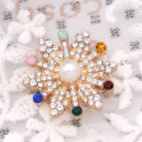 Noël 20MM design flocon de neige snap plaqué or et strass multicolore