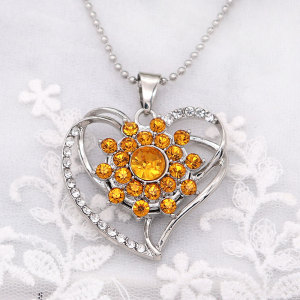 20MM flower design snap silver Plated and yellow rhinestone