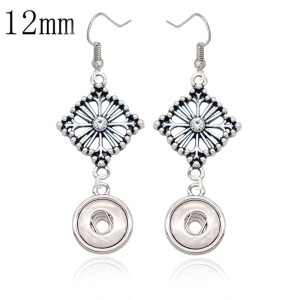 12MM snap silver Plated Earrings charms  snaps jewerly
