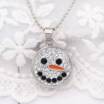 Navidad 20MM diseño de muñeco de nieve broche chapado en plata y diamantes de imitación blancos