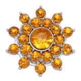 20MM motif de fleur bouton pression argenté et strass jaune