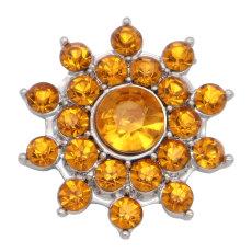 Diseño de flores de 20MM chapado en plata y diamantes de imitación amarillos