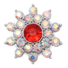 Diseño de flores de 20MM broche de presión plateado y diamantes de imitación multicolor