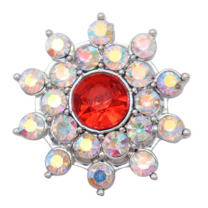 20MM flower design snap silver Plated and multicolour rhinestone