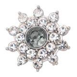 20MM motif de fleur bouton pression argenté et strass gris