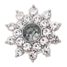 Diseño de flores de 20MM chapado en plata y diamantes de imitación grises