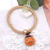 Хэллоуин 20 мм тыквенная кнопка с золотым покрытием и оранжевая эмаль