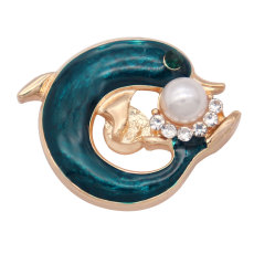 20MM dolphin snap gold Plated and pearl
