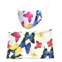 MOQ10 farbig bedruckter Schmetterlingsknopf breites Stirnband Winter staubdichte Stoffmaske Haarband zweiteiliges Set Bandanas