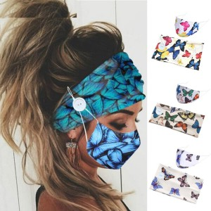 MOQ10 Color Printed Butterfly button wide headband winter dustproof cloth mask hairband two piece set bandanas