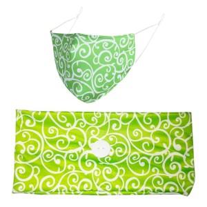 MOQ10 Color Printed  button wide headband winter dustproof cloth mask hairband two piece set bandanas