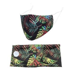 Farbe Gedruckte Knopf breites Stirnband Winter staubdichte Stoffmaske Haarband zweiteiliges Set Bandanas