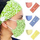 MOQ10 Farbe Gedruckt Knopf breites Stirnband Winter staubdichte Stoffmaske Haarband zweiteiliges Set Bandanas