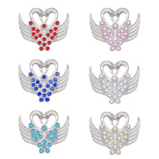 20MM swan metal silver plated snap with rhinestone  charms snaps jewelry