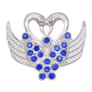 20MM cygne métal argenté pression avec breloques en strass s'enclenche bijoux
