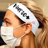 MOQ10 Bandanas de diadema con máscara de botón de enfermera de seda de leche elástica