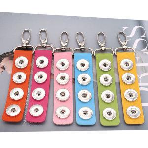 Pu leater mode porte-clés 4 boutons fit boutons pression morceau Snaps bijoux