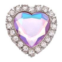 Broche chapado en plata de metal en forma de corazón de 20 mm con encantos de diamantes de imitación broches de presión