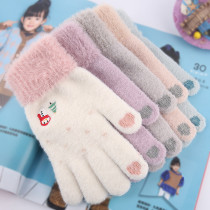 Christmas Touch screen winter warm plush and thickened split finger mink like knitted gloves