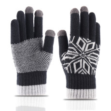 Knitted warm gloves men's winter extra thick anti slip wool outdoor custom touch screen gloves