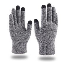 Gants à écran tactile d'automne et d'hiver, doigt de flocon de neige à la mode pour hommes et femmes, ajoutant des gants chauds tricotés en peluche