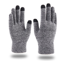 Guantes de pantalla táctil de otoño e invierno para hombres y mujeres dedo de copo de nieve de moda que agrega guantes cálidos de punto de felpa