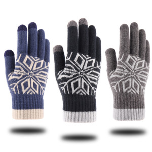 Gestrickte warme Handschuhe Herren Winter extra dicke rutschfeste Wolle Outdoor benutzerdefinierte Touchscreen-Handschuhe