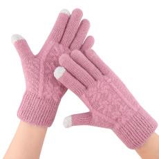 Guantes calientes tejidos invierno de las mujeres guantes de pantalla táctil personalizados al aire libre de lana antideslizante extra gruesa