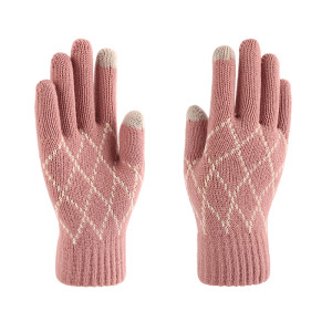 Knitted warm gloves women's winter extra thick anti slip wool outdoor custom touch screen gloves