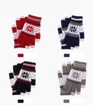 Autumn and winter touch screen gloves men's and women's fashionable snowflake finger adding Plush knitted warm gloves