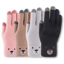 Вязаные теплые перчатки женские зимние очень толстые нескользящие шерстяные перчатки с сенсорным экраном на заказ
