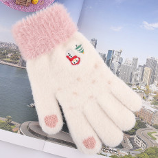 Navidad pantalla táctil invierno cálido felpa y visón de dedo dividido engrosado como guantes de punto