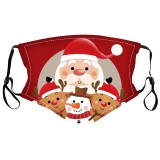 MOQ10 Christmas Adult 3D digital printing protective mask can put PM2.5 filter  face mask