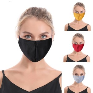 MOQ10 High quality silk imitation pure color cotton mask, washable adult cloth mask in autumn and winter