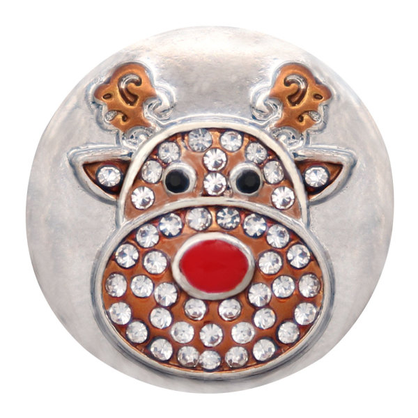 Christmas  20MM snowman design snap silver Plated and white rhinestone