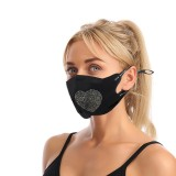 MOQ10 Dust proof fashionable color diamond cotton cloth with rhinestone face mask