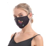 MOQ10 Butterfly printed cotton mask, dustproof and washable adult cloth mask