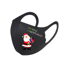 MOQ10 Christmas Santa pattern printed ice silk mask washable men's and women's three-dimensional mask dust-proof ear hanging folding mask