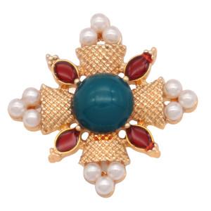 20MM design snap plaqué or et perles colorées