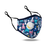 MOQ10 children with breathing valve PM2.5 face mask all cotton cartoon adjustable washing three-dimensional dust prevention and haze prevention