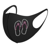 MOQ10 Dust proof fashionable color diamond Iced silk with rhinestone face mask