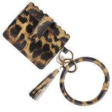 MOQ10 nouveau bracelet en cuir PU pompon porte-clés portefeuille de poche cadeau de noël