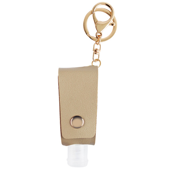 MOQ10 Hand sanitizer gel disinfectant key buckle leather alloy package Pendant (with bottles)
