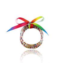 MOQ10 perles de poudre d'or cinq couches de bracelet en plastique ruban ensemble créatif Bracelet cadeau de Noël