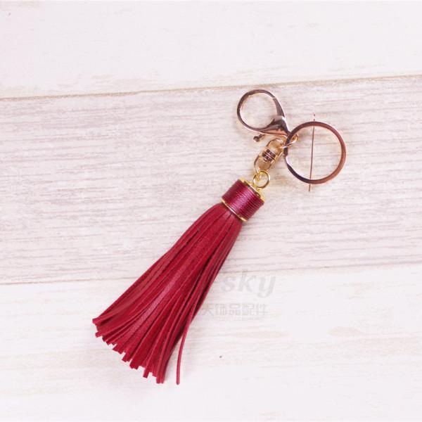 MOQ10 Creative gift leather tassel car key chain female bag Pendant The total length is 17cm
