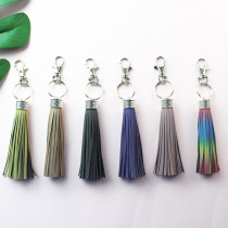 MOQ10 Reflective tassel accessories flash PU leather tassel key chain bag accessories The total length is 15cm