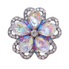 Aleación colorida del broche del diseño de los 20MM plateada con broches de presión de los encantos de los diamantes de imitación jewerly