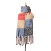 秋冬の厚みのある厚手のフリンジチェック柄スカーフフープサンド粗いブレード粗いひげツイストブレードビブケープ