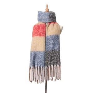 Autumn and winter thickened thick fringed Plaid Scarf hoop sand coarse braid coarse beard twist braid Bib Cape
